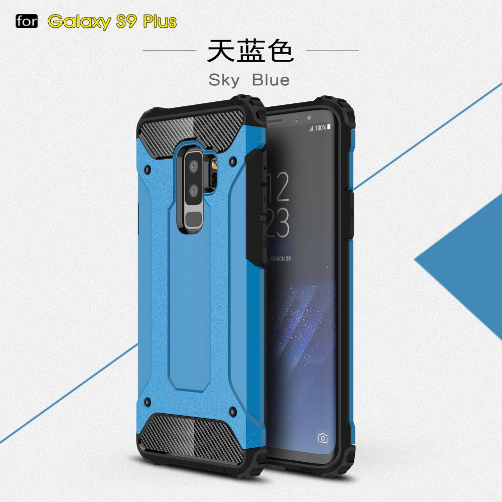 For samsung galaxy s9 plus armor case, dual layers tpu+pc phone case cover for s9