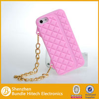 For Apple iPhone 5 Silicone Handbag Case ,Fashionable Silicone Handbag Case for IPhone 5 with chain