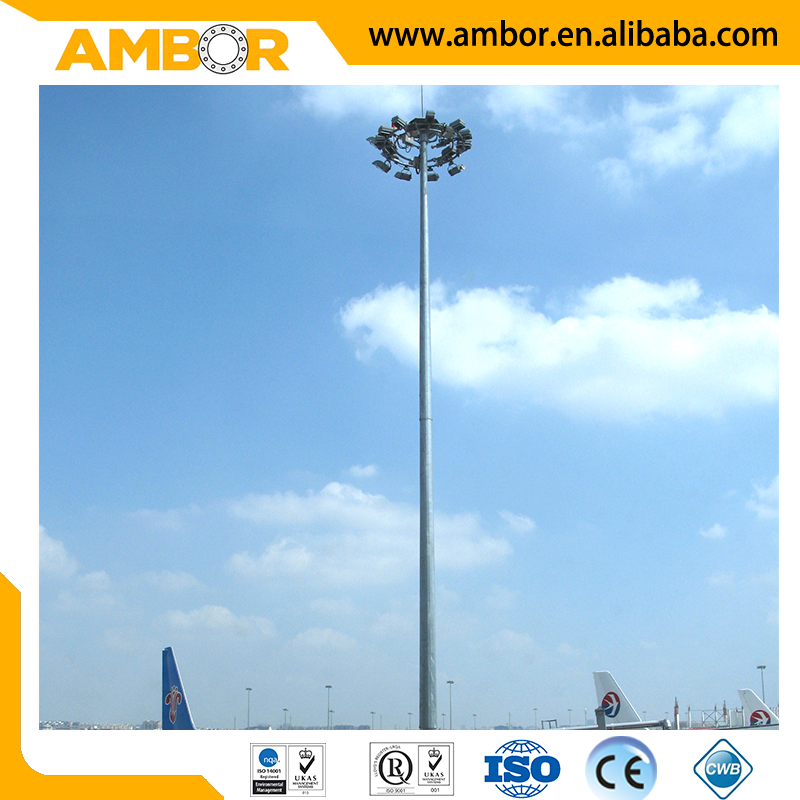 outdoor decorative 30m high mast lighting pole