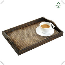 Custom wood tray food/drinks/ breakfast/barware serving tray with handles