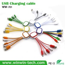 Portable colorful wholesale Cellphone Accessories 2m USB Data Charging Cable for corporate gifts