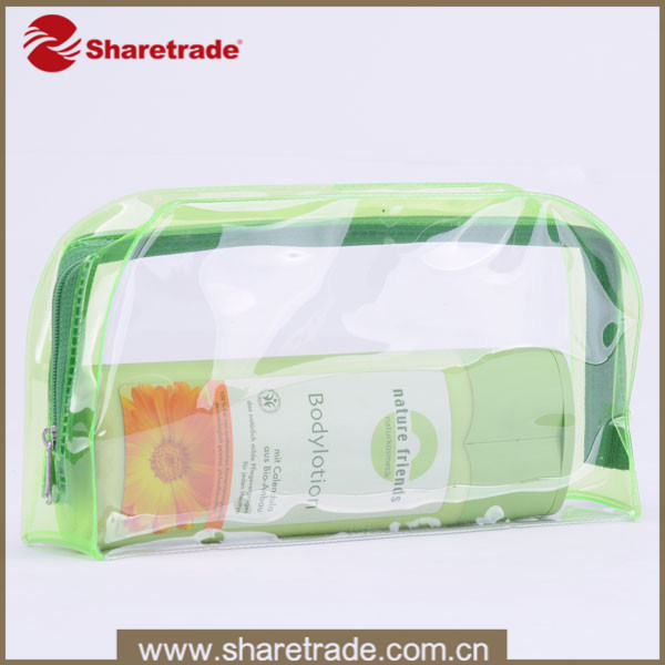 Transparent PVC Zip Lock Light Green Transparent Cosmetic Bags, Clear Clutch Bag