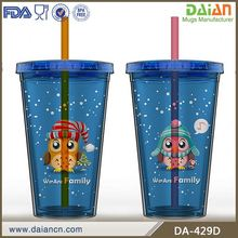 OEM promotional double wall plastic travel mug with lid and straw