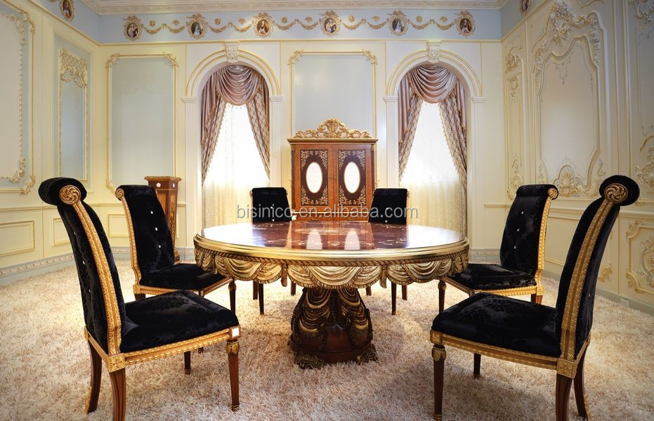French New Design Neo-Classic Marquetry Dining Room Furniture/ Gorgeous Wooden Carving Royal Round Dining Table Set For 6 People
