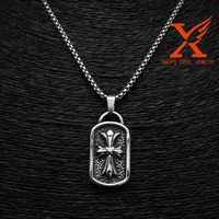 Fashion Men's Stainless Steel Silver Black Cross Dog Tag Pendant Charm
