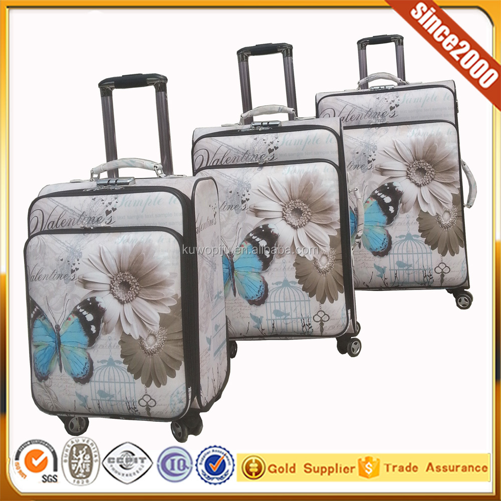 butterfly printed suitcase 5 cities luggage international travel 5 piece luggage