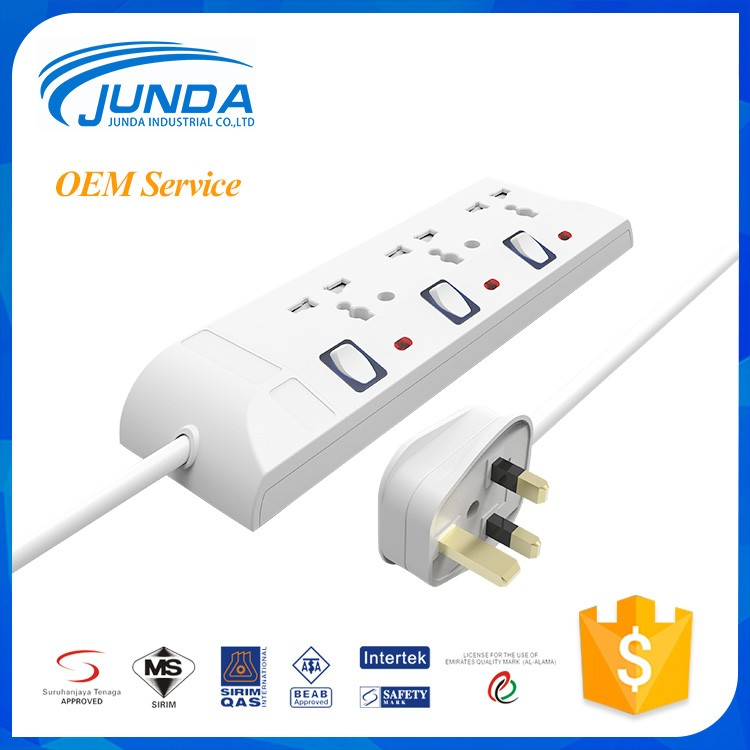 Wholesale 13a 250v 3 pin universal outlet power extension cord portable electrical multi extension plug socket
