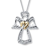 Newset design 925 sterling silver Angel wing heart necklace pendant