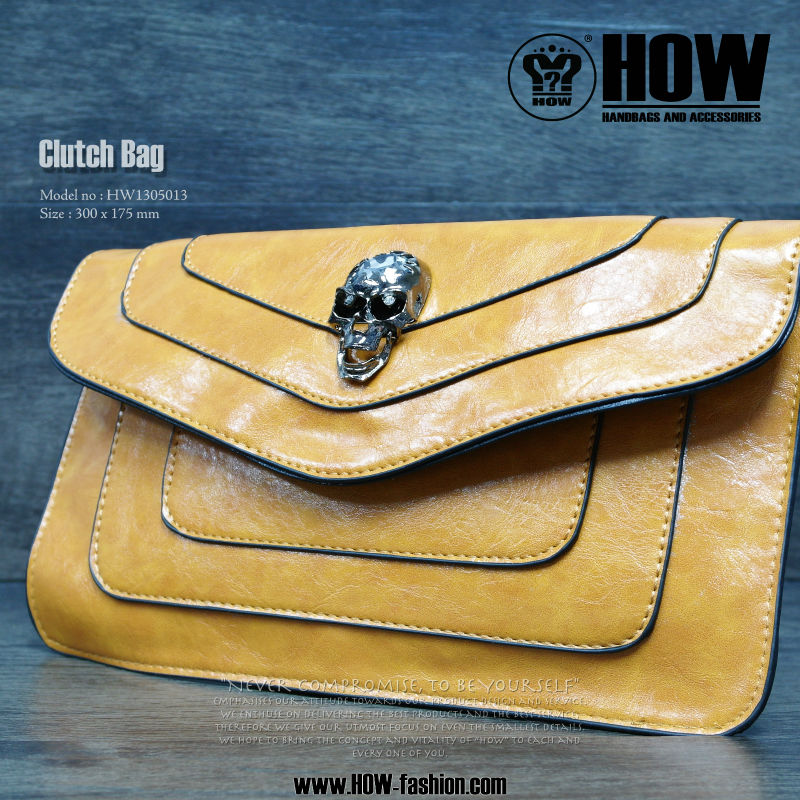 factory Ladies Genuine Leather Clutch with Camel Color