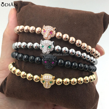 stainless steel beads plated 18k gold lion head beads bracelet