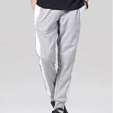 Popular wholesale classic grey and white men's paneled joggers