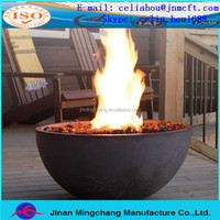 Cast iron outdoor fire pits, steel domed end cap, hemispherical head