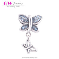 Wholesale Newest 925 Butterfly CZ Beads Bracelet Jewelry Charms