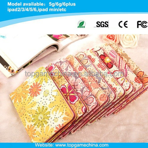 Flower Pattern leather case for ipad mini 1/2 with Credit Card Slots & Holder
