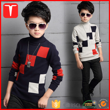 Geometric knitting patterns cotton high neck kids sweater
