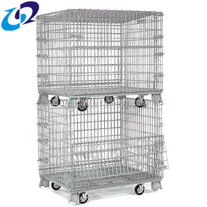 Folding Industrial Collapsible Wire Cage/Metal Storage Crate With Wheels