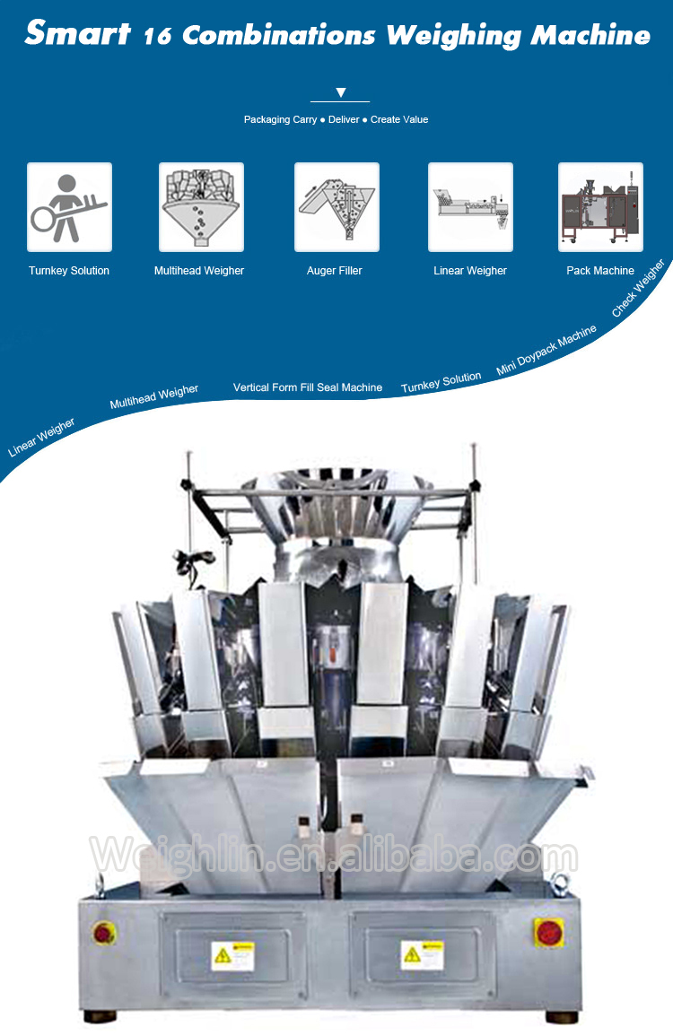 High speed two chutes 20heads multihead weigher packaging machine for plastics screws nuts