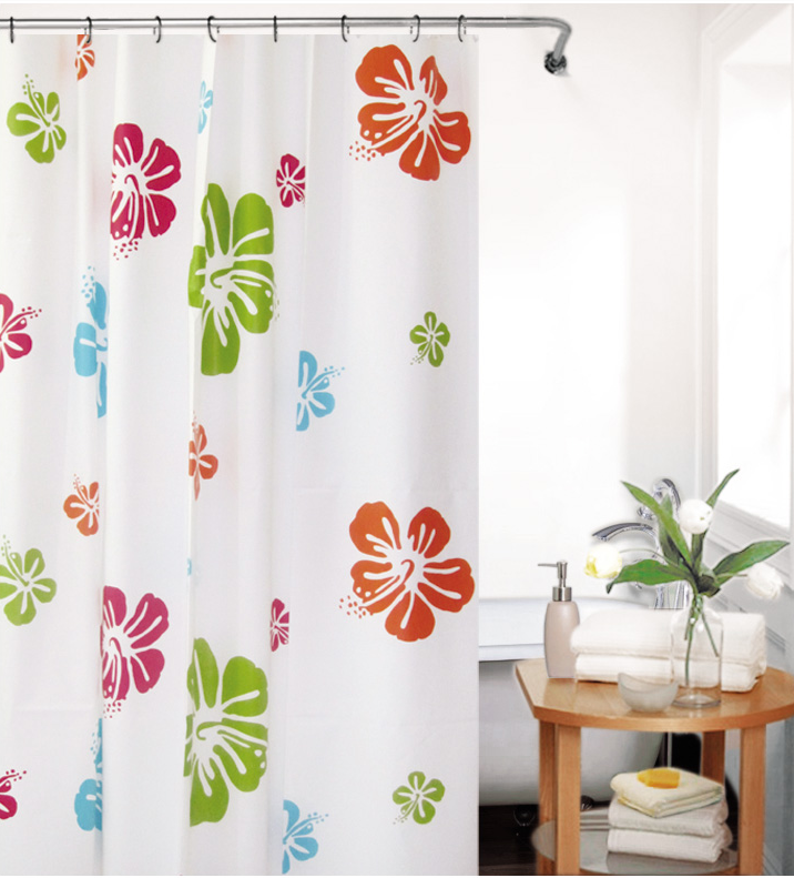 1 pc Fancy Peva Bathroom Shower Curtain With Flower Design