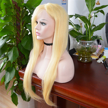 Indian virgin 18 inch straight long blonde human hair full lace wig