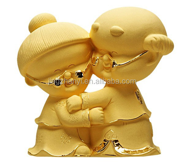 110*60*<strong>105</strong> mm gold plated OEM Decoration, Decoration Doll, Old Couple Figurine