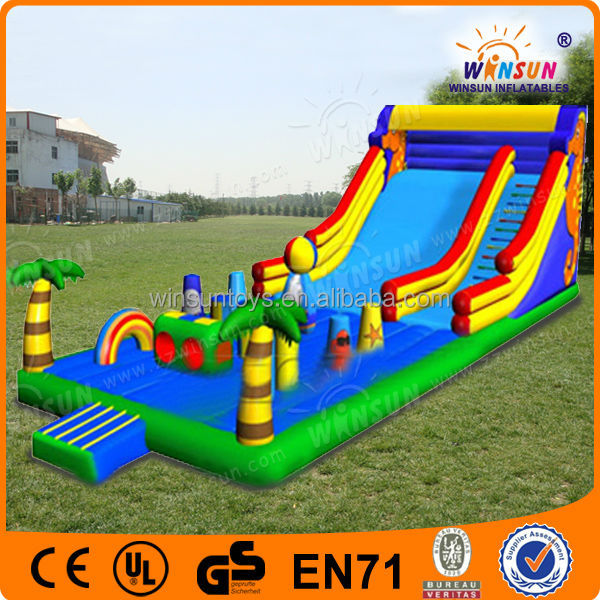 2016 giant inflatable dry and wet slide ,slip and slide inflatable double lane slip slide