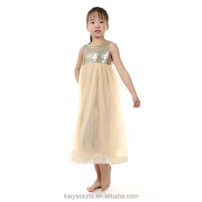 Summer sleeveless gold sequin net soft fairy princess dress long party frocks kids