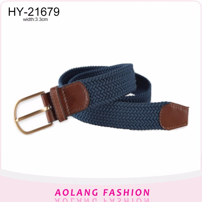 Men Elastic Stretch Woven/Braided cotton Belt with alloy buckle