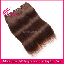 100% Virgin European Unprocessed Human Hair #4 Chocolate Color Eye-catching Popular Hair Product
