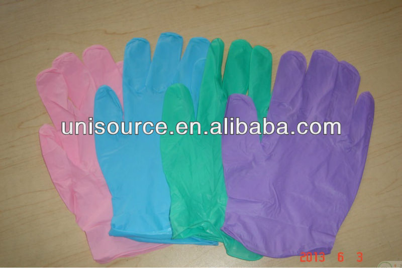 stretch vinyl gloves, synthetc vinyl exam gloves in different color
