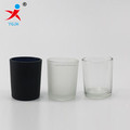 black frosted clear glass hurricane candle cup