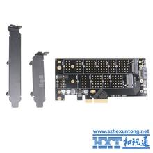 For Desktop Dual Port NGFF M.2 B + M Key SSD to PCI Express PCI-E 4X Adapter Card