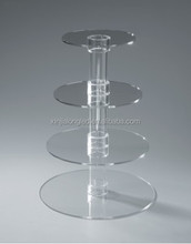 Hot Sale 4 Tier Round Acrylic Wedding Cake Stand Clear Acrylic Cupcake Display Stand Perspex Cake Stand