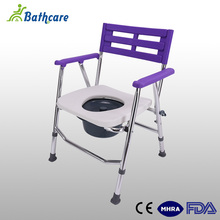 Patient Bedside Stainless Steel Folding Portable Bathroom Toilet Commode Chair For Disabled People