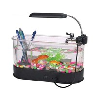 JYX-2012A USB mini aquarium and fish tank with multi functional pen container for house and coffee table decoration and ornament
