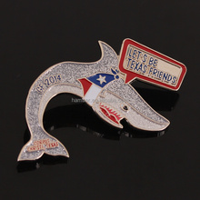 Friendly words charity shark metal badge with glitter