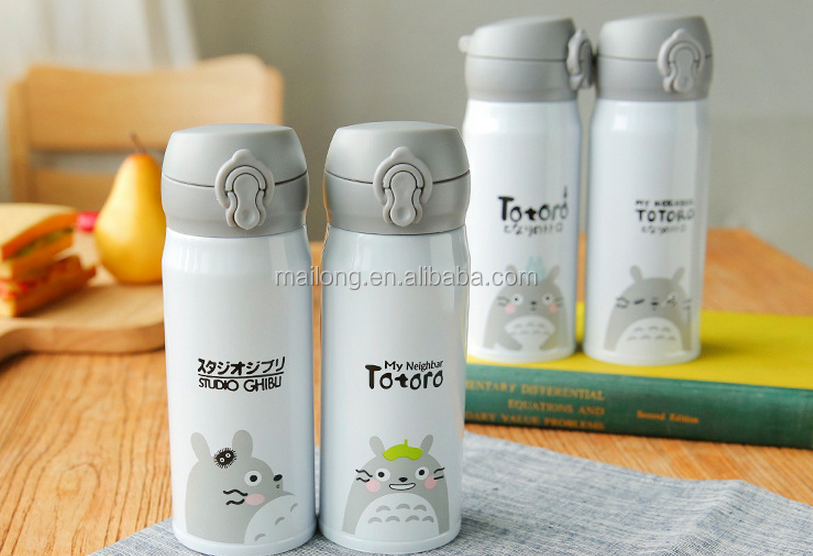 Cute cartoon totoro bounce keep-warm glass creative cup double layer stainless steel vacuum cup children PN5474A