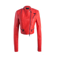 Hot sale!!!wholesale sexy design windproof red pu woman jacket winter, woman jacket