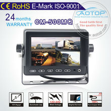 5 inch car quad Monitor digital tft panel with av in/4 video/1 audio,speaker,4 Channel display,Sunshade,multi language