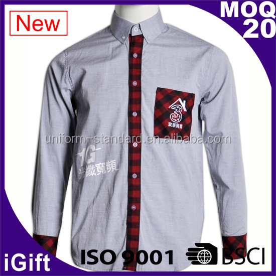 New fashion check pattern new design long sleeve men's casual plus point shirt