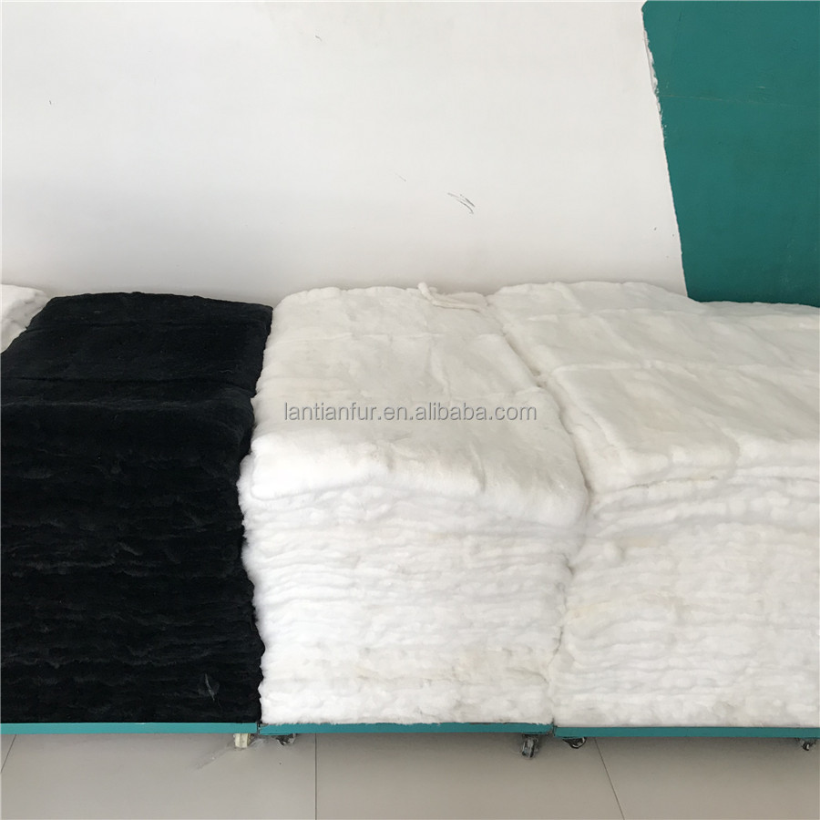 Garment use rex rabbit fur plate size <strong>120</strong>*60 natural white chinchilla rex rabbit fur plate