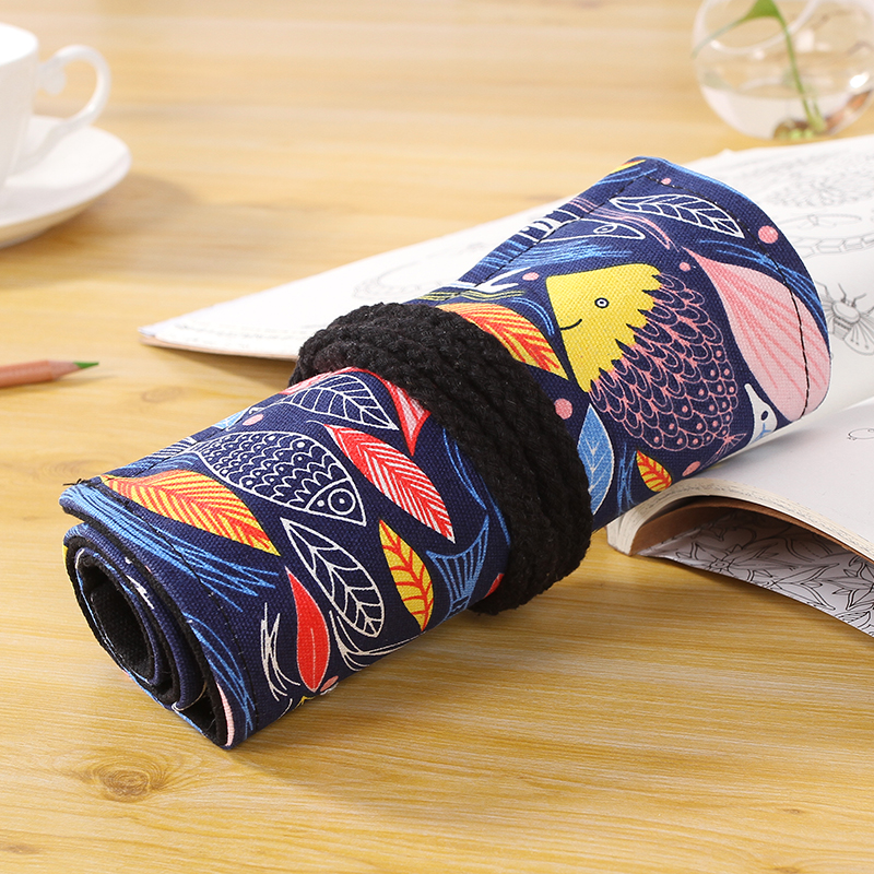 China Supplier Factory 72 Holes Colorful Fish Canvas Pencil Case For Teenagers