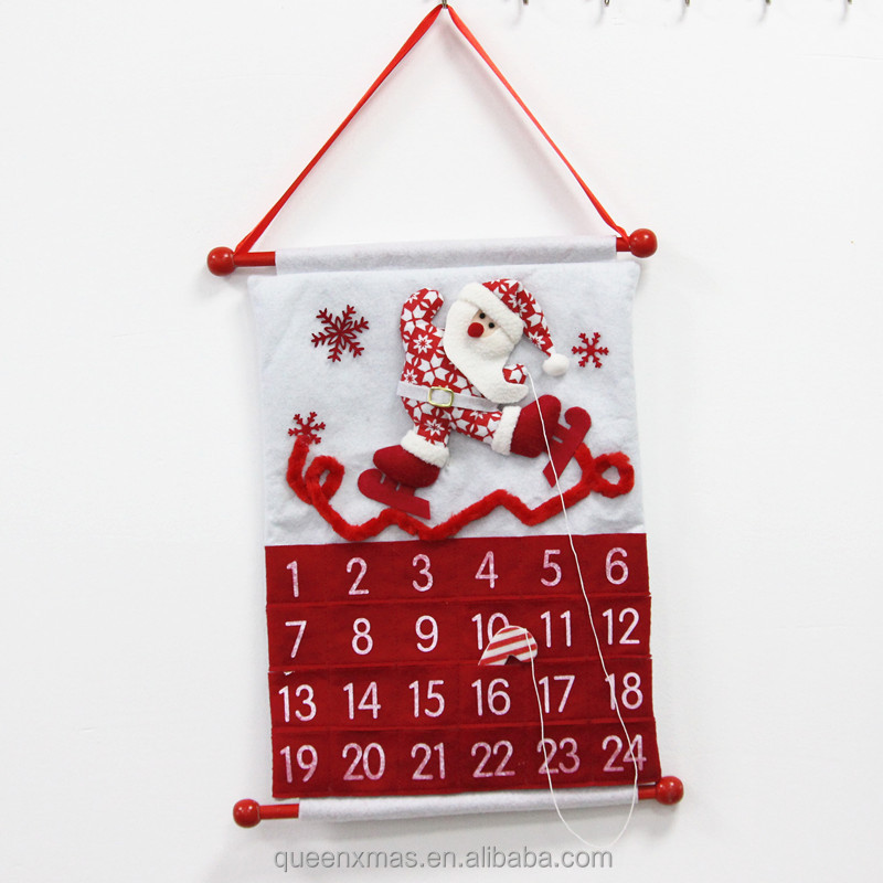 17.5 inches Santa Snowman Red Christmas Advent Wall Calendar,Fabric Christmas Calendar