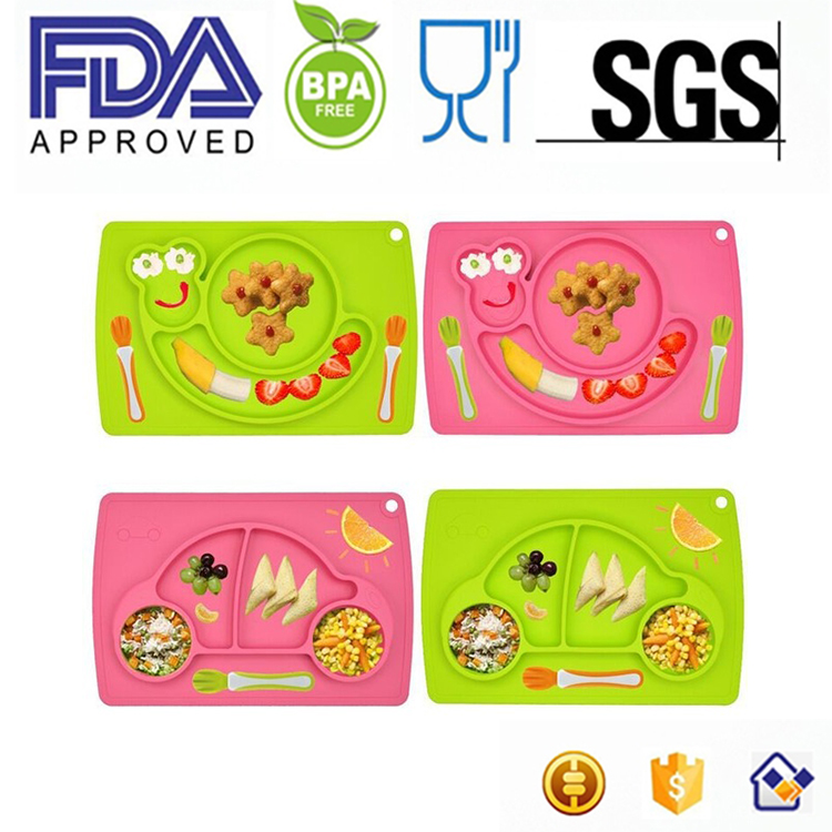 Smiling Face oval Kids Placemat and Plate Suction Silicone