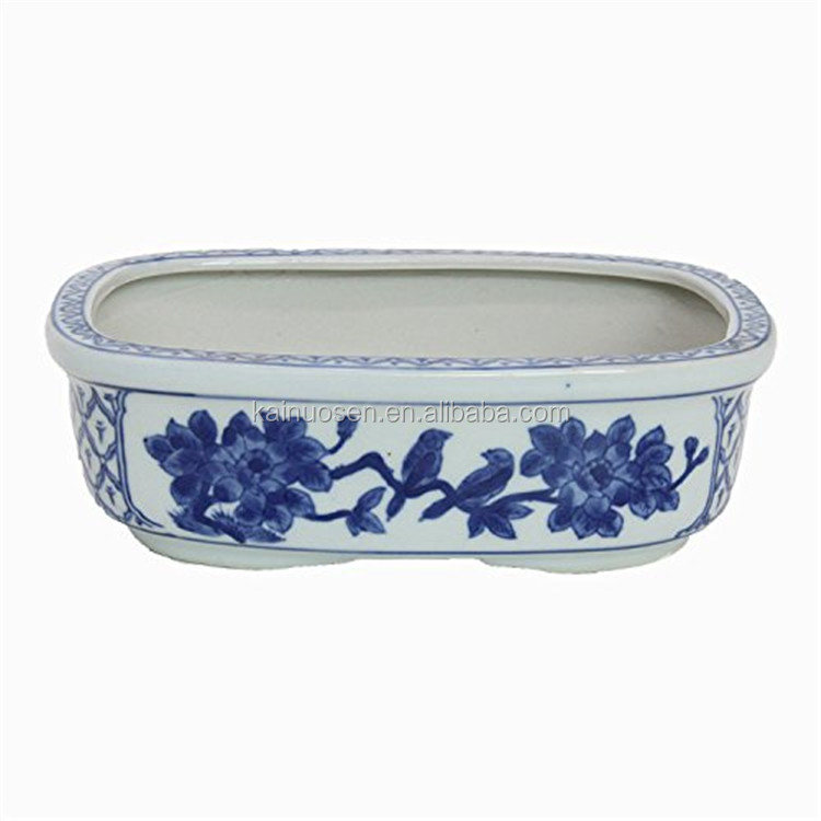hot sale customzied color glazed chinese ceramic blue and white flower pot