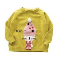 Hao Baby New Winter Girls Round Collar Cartoon Long-Sleeved Sweater Knitting Render Unlined Upper Garment