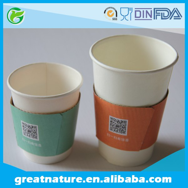 Hot drink corrugated paper cup sleeve with custom logo