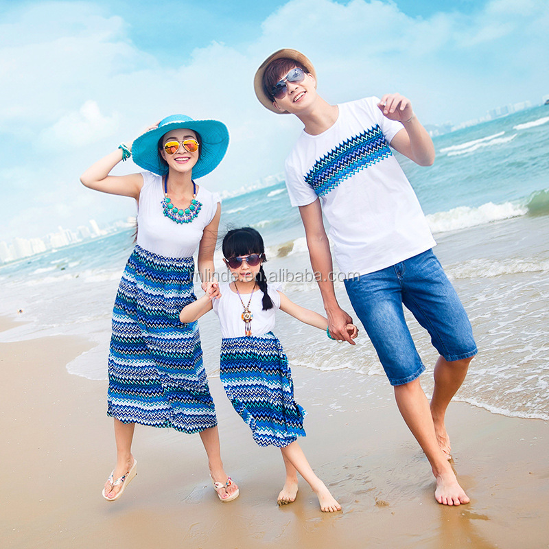 OEM Matching Family Clothing Bohemia Dad Shirt Mom Dress Son Shirt Daughter Dress Familiy Outfit Striped Soft Girl Beach Dress