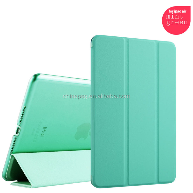 New fancy Magnetic high quality mix color 10''tri-fold Cover Leather tablet pc case for Ipad 5 for apple ipad air 2 accessories