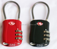 Travel luggage combination cable TSA lock, 3-dial combination TSA padlock,3 digital Combination TSA padlock
