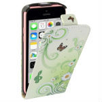 Butterfly and Daisy Pattern Vertical Flip Leather Case for iPhone 5C
